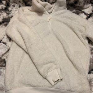 White fluffy sweatshirt quarter zip